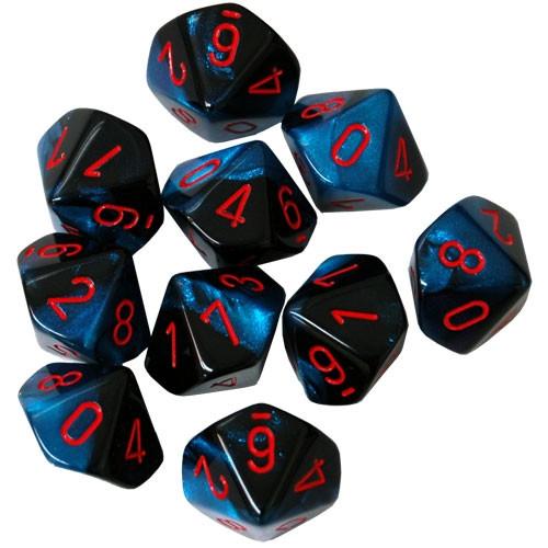 Chessex: d10 Dice Set - Gemini Black-Starlight w/ Red (10)