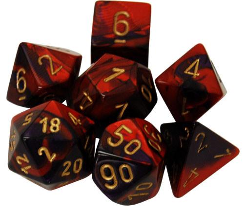 Chessex: Polyhedral Dice Set - Gemini Purple Red w/ Gold (7)
