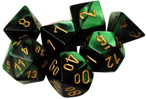 Chessex: Polyhedral Dice Set - Gemini Black-Green w/Gold (7)