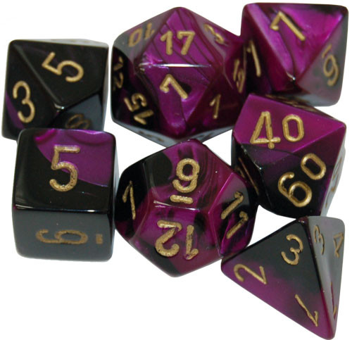 Chessex: Polyhedral Dice Set - Gemini Black-Purple w/Gold (7)