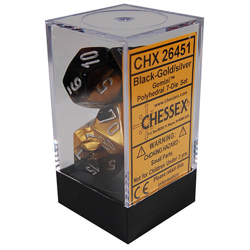 Chessex: Polyhedral Dice Set - Gemini Black-Gold w/Silver (7)