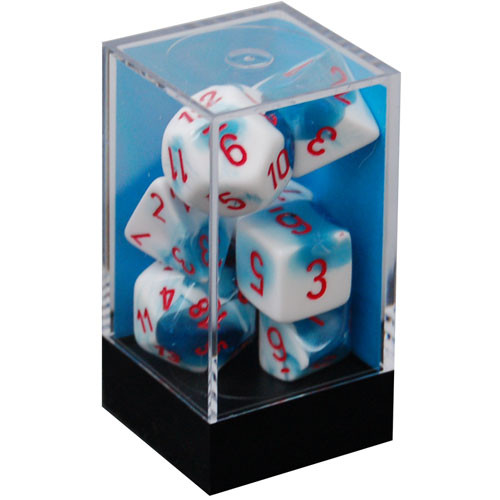 Chessex: Polyhedral Dice Set - Gemini Astral Blue-White w/ Red (7)