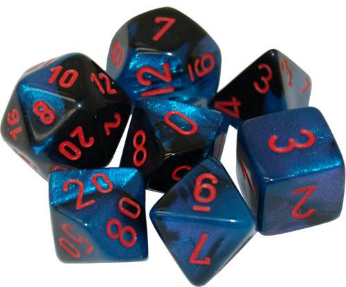 Chessex: Polyhedral Dice Set - Gemini Black-Starlight w/ Red (7)