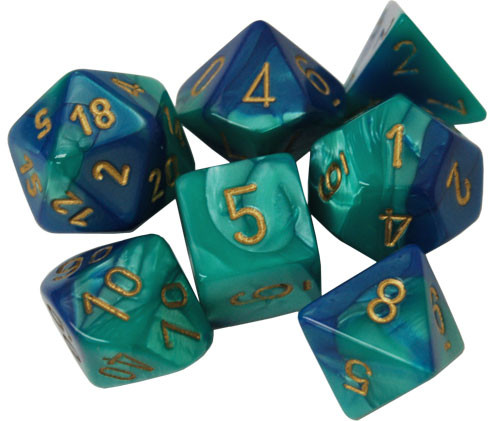 Chessex: Polyhedral Dice Set - Gemini Blue-Teal w/ Gold (7)