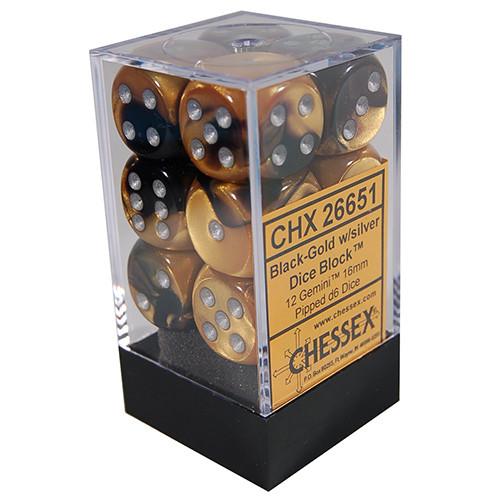 Chessex: 16mm Dice Block - Gemini Black-Gold w/Silver (12)