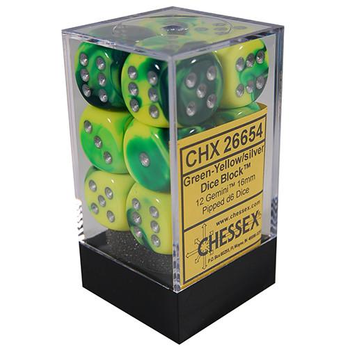 Chessex: 16mm Dice Block - Gemini Green-Yellow w/Silver (12)