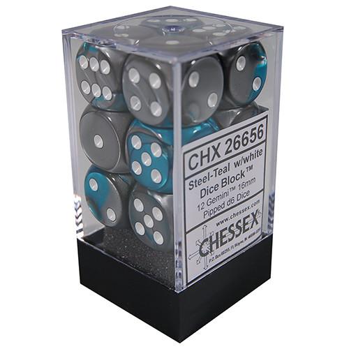 Chessex 16mm d6 Set: Gemini Steel-Teal w/White (12)