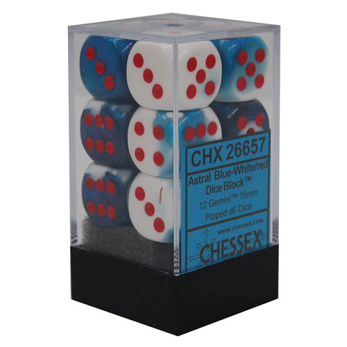 Chessex 16mm d6 Set: Gemini Astral Blue-White w/ Red (12)