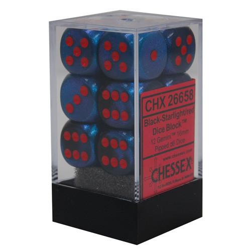 Chessex: 16mm Dice Block - Gemini Black-Starlight w/ Red (12)