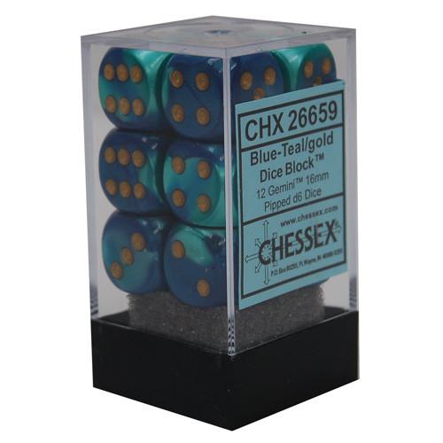 Chessex: 16mm Dice Block - Gemini Blue-Teal w/ Gold (12)