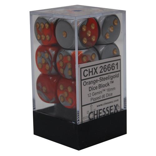 Chessex: 16mm Dice Block - Gemini Orange-Steel w/ Gold (12)