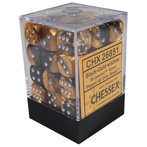 Chessex: 12mm Dice Block - Gemini Black-Gold w/Silver (36)