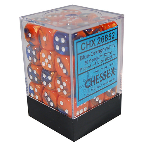 Chessex: 12mm Dice Block - Gemini Blue-Orange w/White (36)
