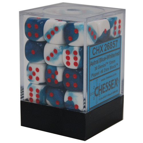 Chessex 12mm d6 Set: Gemini Astral Blue-White w/ Red (36)