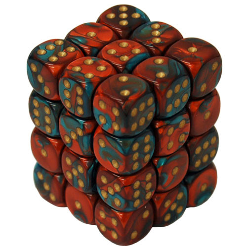 Chessex: 12mm Dice Block - Gemini Astral Red-Teal w/ Gold (36)