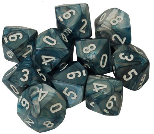 Chessex d10 Set: Lustrous Slate w/White (10)