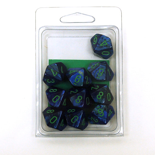 Chessex: Lustrous Dark Blue w/ Green D10 Set (10)
