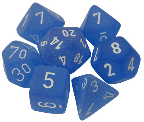 Chessex: Polyhedral Dice Set - Frosted Blue w/White (7)