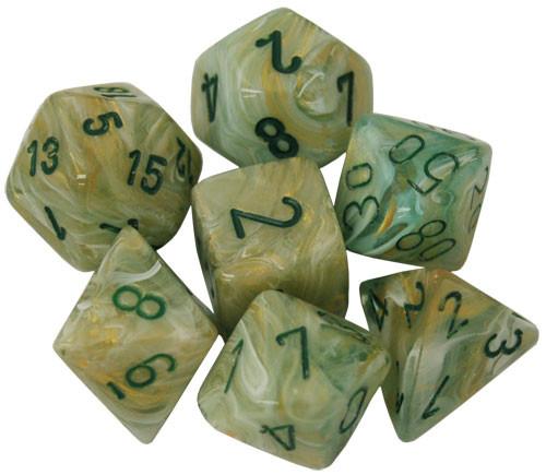 Chessex: Polyhedral Dice Set - Marble Green w/ Dark Green (7)