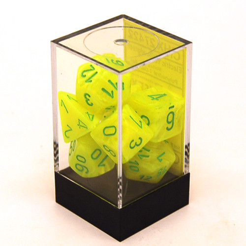 Chessex: Polyhedral Dice Set - Vortex Electric Yellow w/ Green (7)