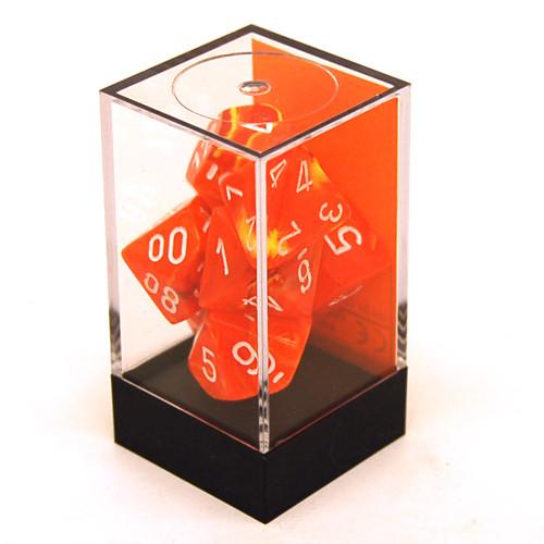 Chessex: Polyhedral Dice Set - Vortex Solar w/ White (7)