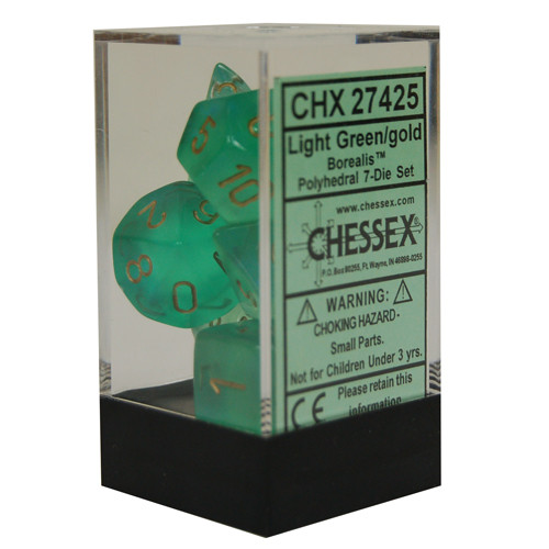 Chessex: Polyhedral Dice Set - Borealis Light Green w/Gold (7)