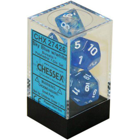 Chessex: Polyhedral Dice Set - Borealis Sky Blue w/White (7)