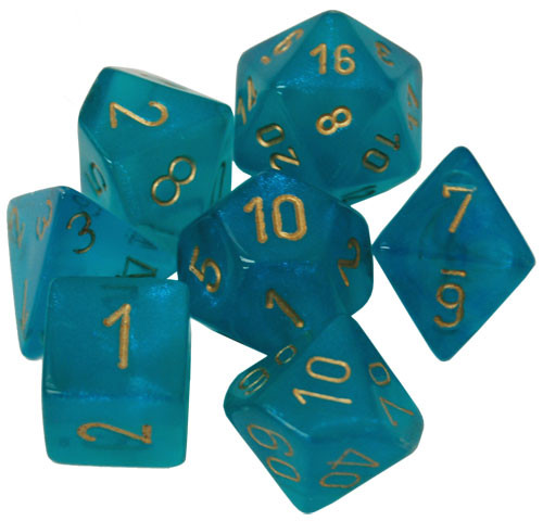 Chessex: Polyhedral Dice Set - Borealis Teal w/Gold (7)