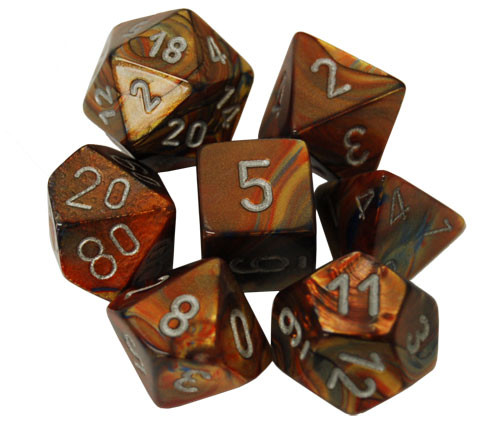 Chessex: Polyhedral Dice Set - Lustrous Gold/Silver (7)