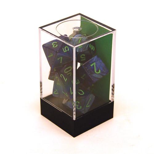 Chessex: Polyhedral Dice Set - Lustrous Dark Blue w/ Green (7)