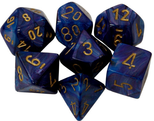Chessex: Polyhedral Dice Set - Lustrous Purple/Gold (7)