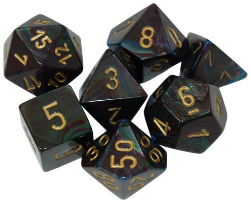 Chessex: Polyhedral Dice Set - Lustrous Shadow/Gold (7)