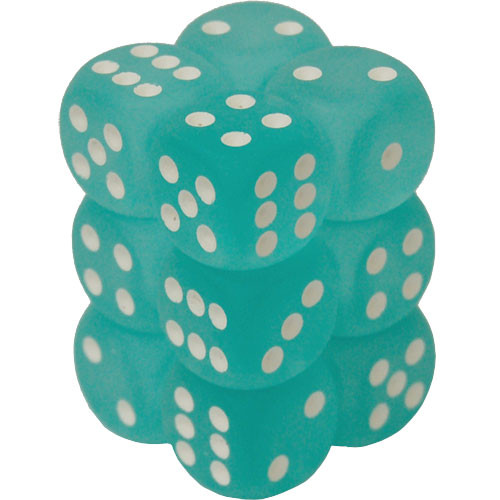 Chessex: 16mm Dice Block - Frosted Teal w/White (12)