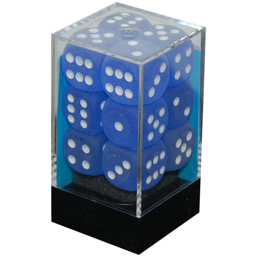 Chessex 16mm d6 Set: Frosted Blue w/White (12)