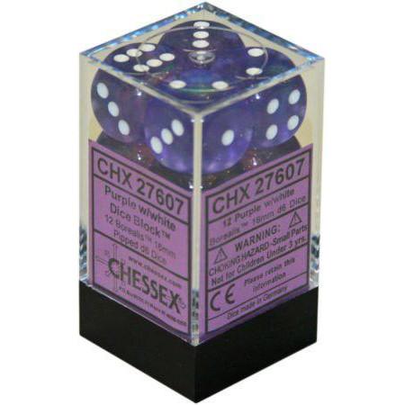 Chessex: 16mm Dice Block - Borealis Purple w/White (12)