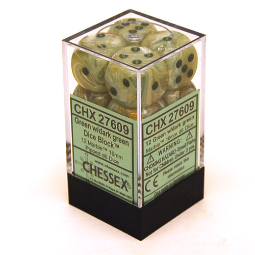 Chessex: 16mm Dice Block - Marble Green w/ Dark Green (12)
