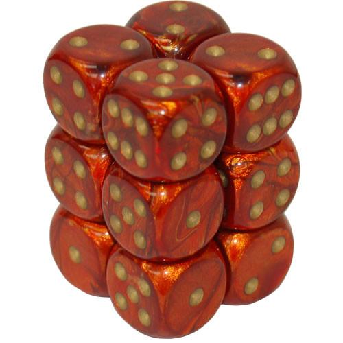 Chessex: 16mm Dice Block - Scarab Scarlet w/Gold (12)