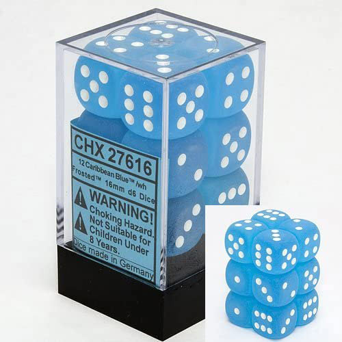 Chessex: 16mm Dice Block - Frosted Caribbean Blue w/White (12)