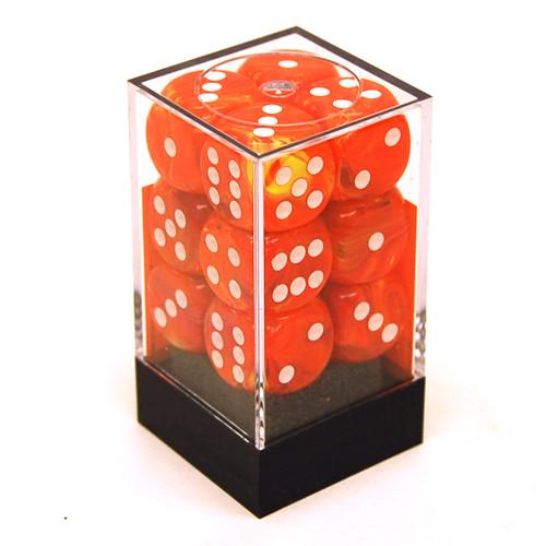 Chessex: 16mm Dice Block - Vortex Solar w/ White (12)