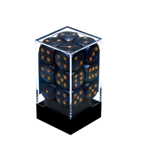 Chessex: 16mm Dice Block - Scarab Royal Blue w/Gold (12)