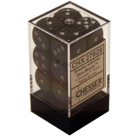 Chessex: 16mm Dice Block - Borealis Smoke w/Silver (12)