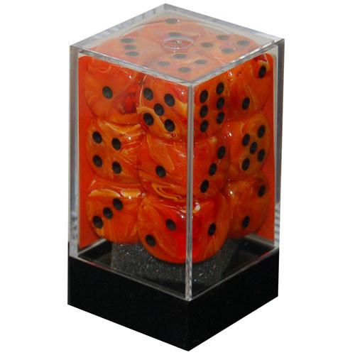 Chessex: 16mm Dice Block - Vortex Orange w/Black (12)