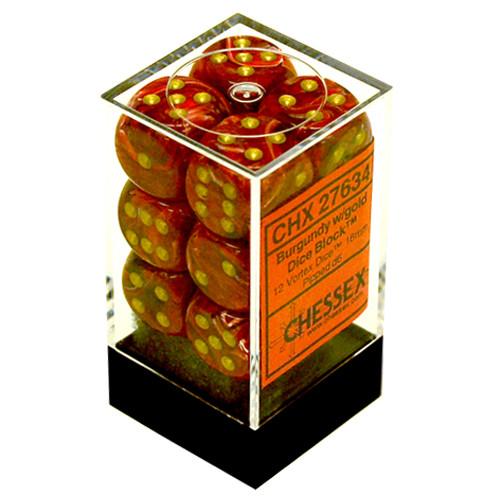 Chessex: 16mm Dice Block - Vortex Burgundy w /Gold (12)