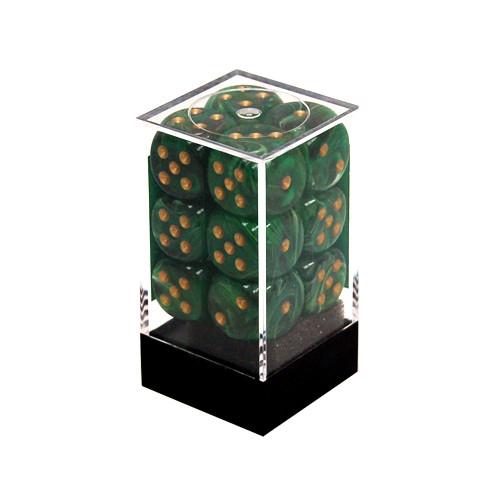 Chessex 16mm d6 Set: Vortex Green w/Gold (12)