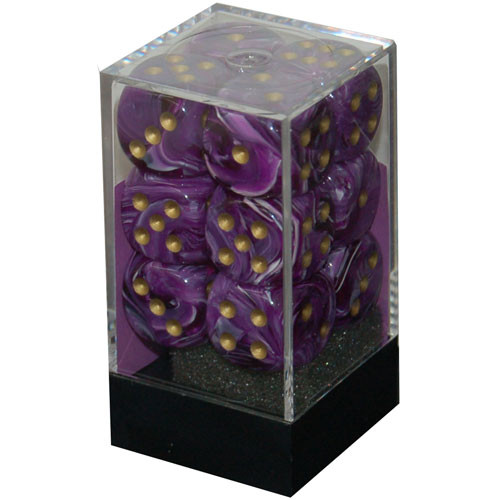 Chessex: 16mm Dice Block - Vortex Purple w/Gold (12)