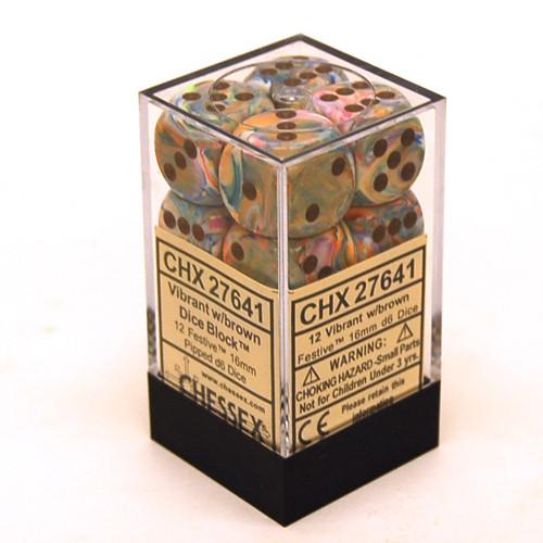 Chessex: 16mm Dice Block - Festive Vibrant w/ Brown (12)