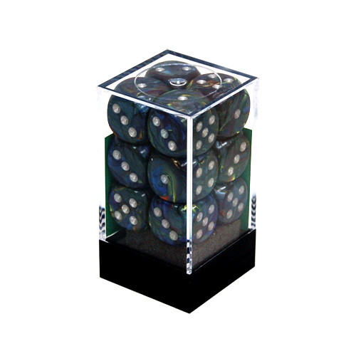 Chessex: 16mm Dice Block - Festive Green w/Silver (12)