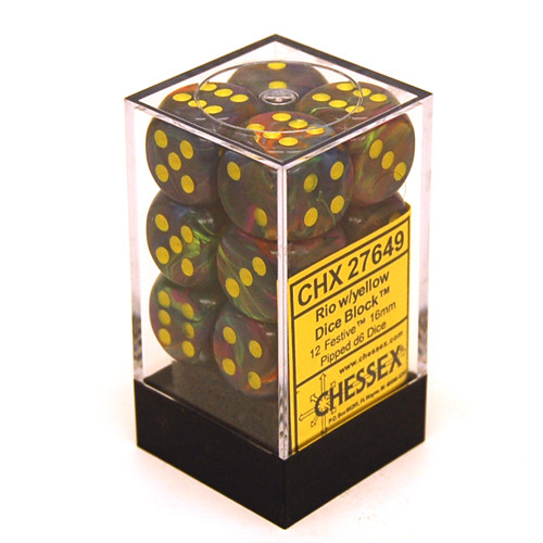 Chessex: 16mm Dice Block - Festive Rio w/ Yellow (12)