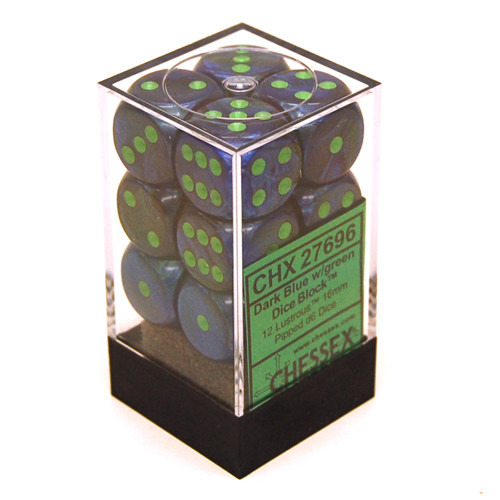 Chessex: 16mm Dice Block - Lustrous Dark Blue w/ Green (12)