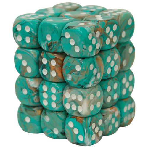 Chessex 12mm Dice Block: Marble Oxi-Copper/White (12)